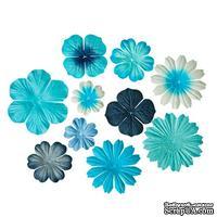 Набор цветочков из шелковичной бумаги 10 шт., цвет светло-голубой