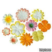 Набор цветочков из шелковичной бумаги 10 шт., цвет светло-желтый и кремовый