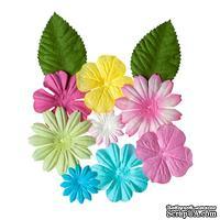 Набор цветов с листиками из шелковичной бумаги 10 шт., пастельные
