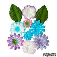 Набор цветов с листиками из шелковичной бумаги 10 шт., нежные