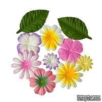Набор цветов с листиками из шелковичной бумаги 10 шт., солнечный закат
