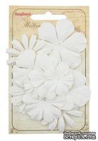 Набор цветочков из шелковичной бумаги 10 шт., цвет белый