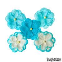 Братки, набор двойных цветов из шелковичной бумаги 5 шт., бирюзовый