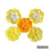 Братки, набор двойных цветов из шелковичной бумаги 5 шт., цвет желтый