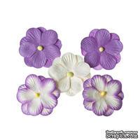 Братки, набор двойных цветов из шелковичной бумаги 5 шт., цвет фиолетовый