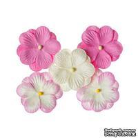 Братки, набор двойных цветов из шелковичной бумаги 5 шт., цвет розовый