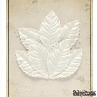 Набор листиков из шелковичной бумаги, 7 шт., роза, мелкие, белые