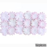 Набор цветов из шелковичной бумаги, 2 вида 20 шт.,  цвет белый с розовым