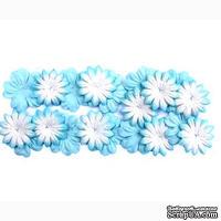 Набор цветов из шелковичной бумаги, 2 вида 20 шт., цвет голубой
