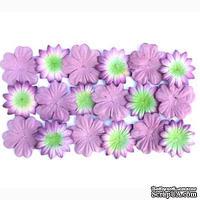 Набор цветов из шелковичной бумаги, 2 вида 20 шт., цвет лаванда