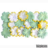Набор цветов из шелковичной бумаги, 2 цвета 20 шт.,  28мм, цвет светло-зеленый и  желтый