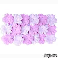 Набор цветов из шелковичной бумаги, 2 цвета 20 шт., 28мм, цвет светло-розовый, розовый