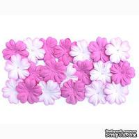 Набор цветов из шелковичной бумаги, 2 цвета 20 шт., 28мм, оттенки розового
