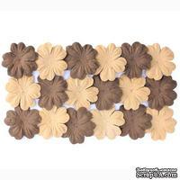 Набор цветов из шелковичной бумаги, 2 цвета 20 шт., 28мм коричневый песочный