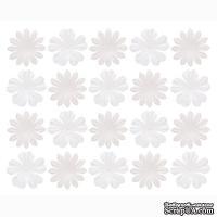 Набор цветов из шелковичной бумаги, 2 вида 20 шт., белые