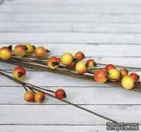 Веточка с ягодками, красно-желтая, большие ягодки, 44см