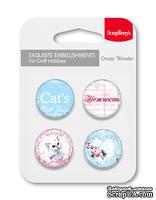 Набор металлических фишек от ScrapBerry's - Шебби котики, № 2 - Нежность