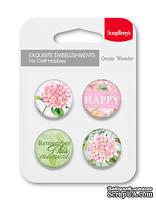Набор металлических фишек от ScrapBerry's -Цветущий Сад, № 3 - Счастье (англ.)