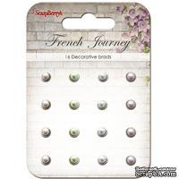 """Набор жемчужных брадс """"Французское путешествие"""", цвет белый, сиреневый, голубой 16 шт."""