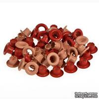 Набор люверсов, 4,8 мм, красные, 50 шт.