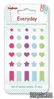 Набор однотонных эпоксидных стикеров от Scrapberry's - День за Днем 2