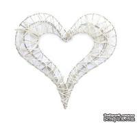 Декоративное сердечко на метал. каркасе, белое, 22см
