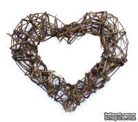 Декоративный венок, сердце, ротанг 30см