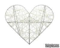 Декоративное сердечко на метал. каркасе, белое, 25см