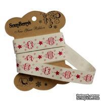 Лента декортивная от ScrapBerry's - Елочные игрушки, 15мм, 2м, хлопок