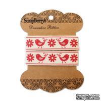 Лента декоративная от ScrapBerry's - Птички и Цветы, 15мм, 2м, хлопок