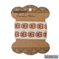 Лента декоративная от ScrapBerry's - Милые совы, Крафт 15мм, 2м, хлопок