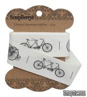 Лента отрезная от Scrapberry's - Ретро велосипеды, 25мм, 2м, хлопок