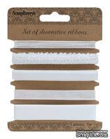 Набор декоративных лент от Scrapberry's, белые, 5 шт. за 1 м