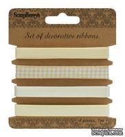 Набор декоративных лент от Scrapberry's, нежно-желтые, 4 шт. по 1 м