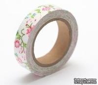 Тканевый скотч с цветочным принтом №34 15мм*4м SCB490039