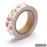 Тканевый скотч с цветочным принтом №21 15мм*4м SCB490045