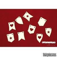 Чипборд Scrapiniec - Отдельные флажки, 9 штук