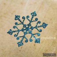 Чипборд тонкий (кардсток) Scrapiniec с глиттером - Снежинка ажурная 04, цвет голубой