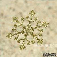 Чипборд тонкий (кардсток) Scrapiniec с глиттером - Снежинка ажурная 04, цвет золотой