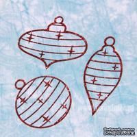 Чипборд тонкий (кардсток) Scrapiniec с глиттером - Елочные игрушки узоры, набор 3 штуки, цвет красный
