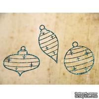 Чипборд тонкий (кардсток) Scrapiniec с глиттером - Елочные игрушки узоры, набор 3 штуки, цвет голубой