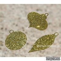 Чипборд тонкий (кардсток) Scrapiniec с глиттером - Елочные игрушки полные, набор 3 штуки, цвет золотой