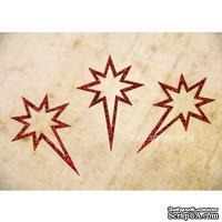 Чипборд тонкий (кардсток) Scrapiniec с глиттером - Звезда вифлеемская узоры, 3 штуки, цвет красный