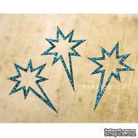 Чипборд тонкий (кардсток) Scrapiniec с глиттером - Звезда вифлеемская узоры, 3 штуки, цвет голубой