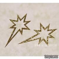 Чипборд тонкий (кардсток) Scrapiniec с глиттером - Звезда вифлеемская узоры, 3 штуки, цвет золотой