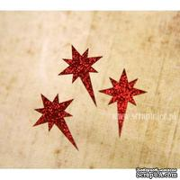 Чипборд тонкий (кардсток) Scrapiniec с глиттером - Звезда вифлеемская полная, 3 штуки, цвет красный