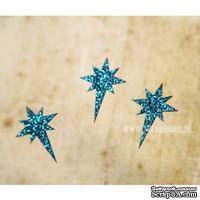 Чипборд тонкий (кардсток) Scrapiniec с глиттером - Звезда вифлеемская полная, 3 штуки, цвет голубой