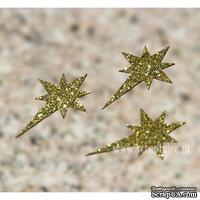 Чипборд тонкий (кардсток) Scrapiniec с глиттером - Звезда вифлеемская полная, 3 штуки, цвет золотой