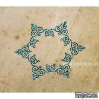 Чипборд тонкий (кардсток) Scrapiniec с глиттером - Снежинка ажурная Iron, цвет голубой