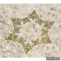 Чипборд тонкий (кардсток) Scrapiniec с глиттером - Снежинка ажурная Iron, цвет золотой